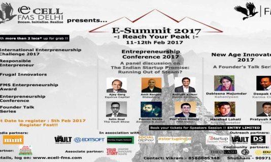 Entrepreneurship Cell, Faculty of Management Studies, University of Delhi to organise Entrepreneurship Summit 2017