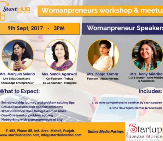 Starthub Nation to Organise Womanpreneurs Workshop & Meetup on 9th September, 2017 in Mohali