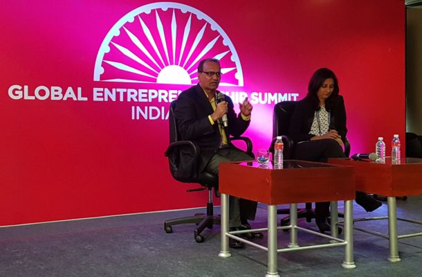 Dr Ajay Kela, President & CEO, Wadhwani Foundation with Anu Acharya at the launch of Wadhwani Global Network for Entrepreneurs at GES 2017