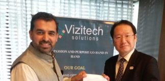 From left- Mr Anand Shiralkar (Founder & CEO, Vizitech) and Mr Hideki Shoda, Founder, Chaintope