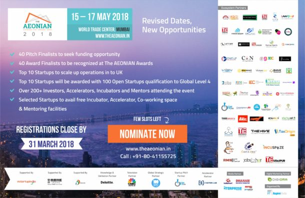 "NASSCOM CoE (IoT) to co-organize ""THE AEONIAN 2018"" - Partnership to Immensely Benefit Hundreds of SMEs and Start-ups at the Event"