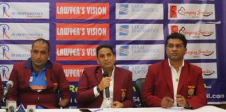 L-R Captain Ravinder Pal, Chairman (Disabled Sporting Society) Sarvesh Tiwari and CEO Hector Ravinder Dutt during the Press Confrence at Press Club of Inida, New Delhi