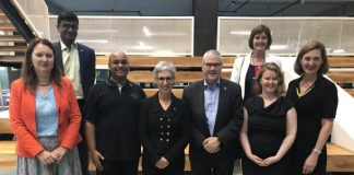 Honourable Linda Dessau AC, Governor of Victoria with Srinivas Kollipara, CEO at T-Hub