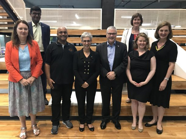Honourable Linda Dessau AC, Governor of Victoria with Srinivas Kollipara, CEO at T-Hub
