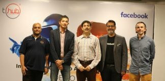 Srinivas Kollipara, COO & interim CEO of T-Hub, Jay Krishnan, Jayesh Ranjan IT Secretary, Satyajeet Singh Head of Platform Partnerships Facebook India and South Asia