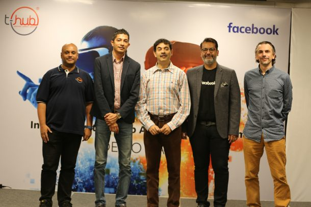 Srinivas Kollipara, COO & interim CEO of T-Hub, Jay Krishnan, Jayesh Ranjan IT Secretary, Satyajeet Singh Head of Platform Partnerships Facebook India and South Asia