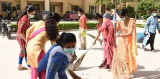 On the occasion of swachh bharat abhiyan, residents of BDI Ambbaram are cleaning their society