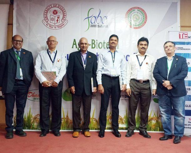 (l-r) Dr. Sreedhara Voleti, CEO BioNest University of Hyderabad, Dr. Balaji Bhyravabhatla, MD of Hylasco Bio, Venkatadri Bobba General Partner at Ventureast Mr. AVN Reddy, CMD of Roshini Crops, Mr. Srinivasa Satti MD of Finvista Advisors, Phani Pattamatta Executive Director, The Indus Entrepreneurs,