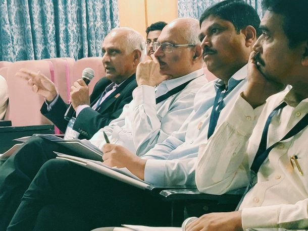 Panel of Judges during evaluation of the startup pitches, Mr. Venkatadri Bobba General Partner at Ventureast and TiE Hyderabad Charter Members, Dr. Balaji Bhyravabhatla, MD of Hylasco Bio Mr. AVN Reddy, CMD of Roshini Crops, and Mr. Srinivasa Satti MD of Finvista Advisors