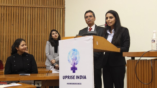 Nishtha Dudeja Miss Deaf Asia addressing the audience at Women Business Conference organised by Uprise India