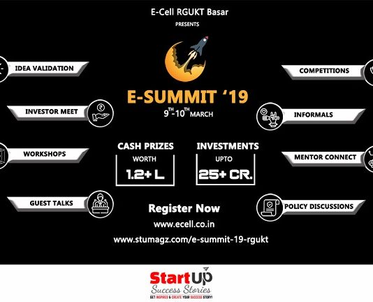 "RGUKT-Basar To Organise a Two Day Entrepreneurial Event ""E-Summit'19"" on 9th & 10th March 2019"