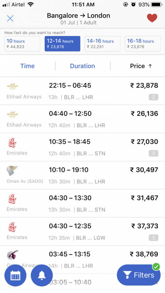 Cleartrip Time vs Money filter - Screenshot