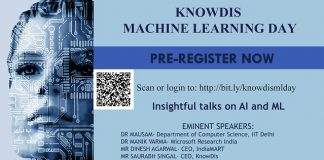 KnowDis Data Science to organize the first Machine Learning Day at IIT Delhi on 28th July, 2019