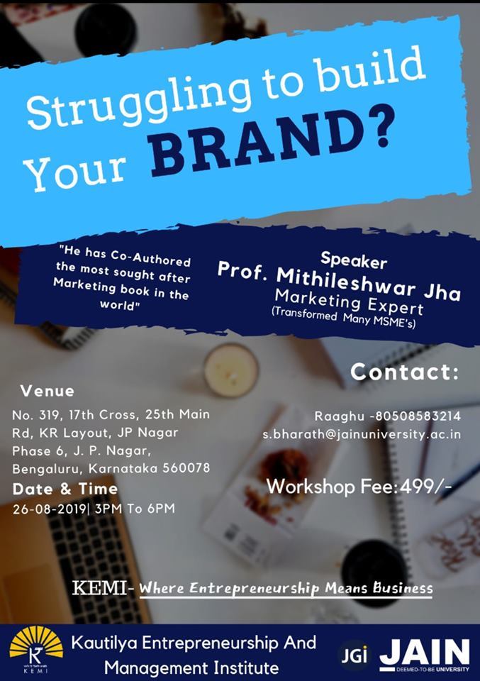 Kautilya Entrepreneurship and Management Institute to Organise a Workshop on Building a Brand