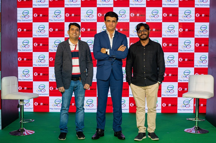 Sourav Ganguly at a meet and greet event of My11Circle Saroj Panigrahi, VP of My11Circle and Avik Das Kanungo, Brand head of Play Games 247