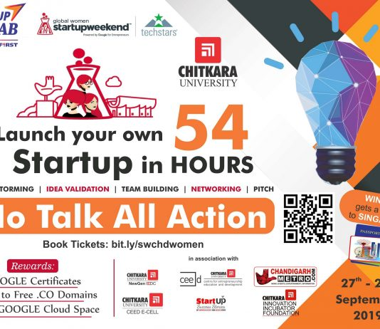 Chitkara University to Organise Techstars Startup Weekend Women Chandigarh on September 27-29, 2019