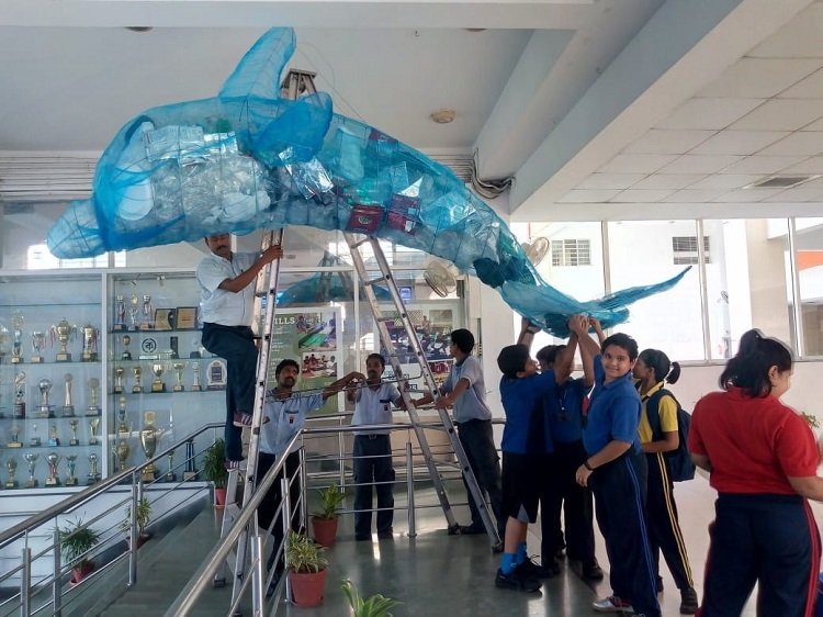 Students from Sri Sri Academy in Kolkata have made the best of plastic waste