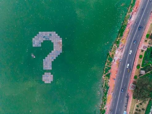 WHY installation by artist Daku on Hussain Sagar Lake 1