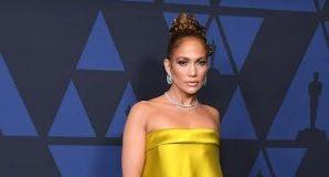 Jennifer Lopez Wears Harry Winston Jewelry Set in Platinum