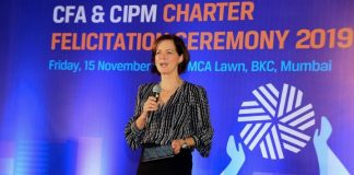 Margaret Franklin, CFA, President & CEO, CFA Institute speaking at CFA Charter Felicitation Ceremony in Mumbai