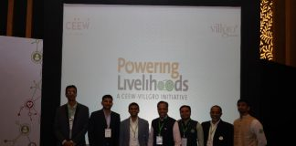 (L-R Ananth Aravamudan(Villgro), Wase Khalid (Ceew), Abhishek Ghosh(CEO, Ceew), Shankha Lahiri(Villgro), Paul Basil (CEO,Villgro), Gowtham Sundara Raju (Villgro)