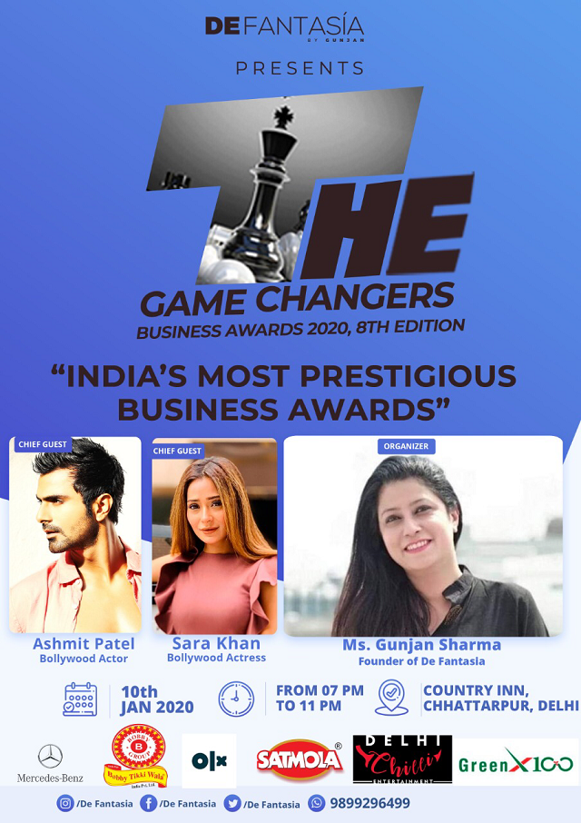 'The Game changers' Business Award 2020, presented by De Fantasia by Gunjan, to honor Business Leaders