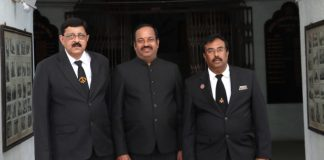 The newly appointed three Assitant Regional Grand Masters Madan Mohanlal, G. Maddulete and D.Ramchandram