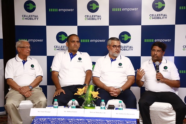 Cellestial Mobility Founders (L-R) Vinod Moudgil, Director, Midhun Kumar - Director Manufacturing, Syed Mubasheer Ali - Co-Founder & Partner,  Siddarth Durairajan, Founder & CEO