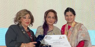Dr. Bina Modi receives Award of Excellence from the Egyptian Government in Cairo ( L) Dr Maya Morsy, President NCW (R) Dr Harbeen Arora, Global chairperson ALL
