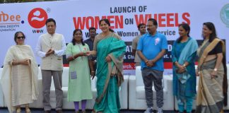 Minister Sathyavati Rathod, DGP-Mahender Reddy seen giving the keys to women drivers at the launch of Women on Wheels - the first of its kind women for women cab service