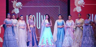 """Rangoli, a brand owned by actress and MP Nusrat Jahan unveiled """"YOUVE""""a youth wear brand in Hyderabad. Models seen showcasing its collection"""