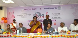 Telangana Governor Dr. Tamilisai Soundararajan addressing the gathering at Women's Day Celebrations organised by Dhaatri CLMC Mother's Milk Bank and Niloufer Hospital
