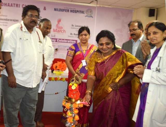 Telangana Governor Dr. Tamilisai Soundararajan seen inaugurating Women's Day Celebrations organised by Dhaatri CLMC Mother's Milk Bank and Niloufer Hospital